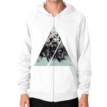 Geometric Conversation Zip Hoodie (on man)