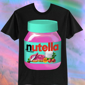 UNISEX Pink Nutella Kawaii T-Shirt // Black Version // Pastel Grunge // fASHLIN