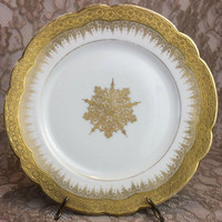 "Delinieres Limoges France Salad Plates, Set of 6, D & C Antique Gold Encrusted 8 1/4"" Scalloped Rim Dishes, Medallion Center"