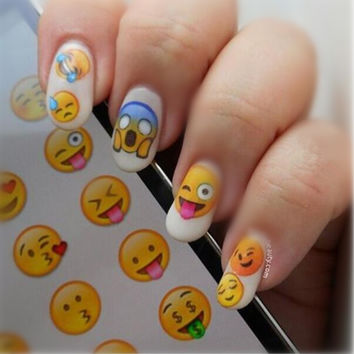 NICOLE DIARY Nail Art Water Decals Various Expression Patterns Stickers Water Transfer Nail Art Tattoo 25967