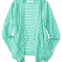 Kids' Sheer Textured Open-Front Cardigan