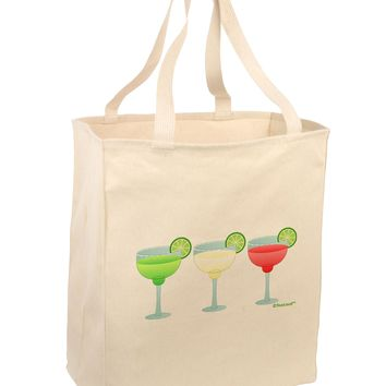 Margaritas - Mexican Flag Colors - Cinco de Mayo Large Grocery Tote Bag by TooLoud