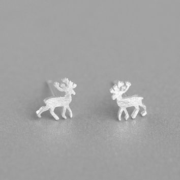 Silver Deer Earrings, Sterling Silver Deer Stud Earrings,deer antler earrings,animal earrings,animal stud earrings,gift for her,deer jewelry