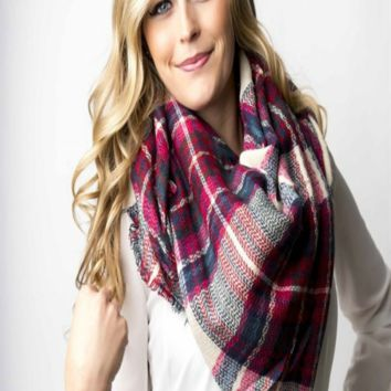 Pink and Navy Blanket Scarf