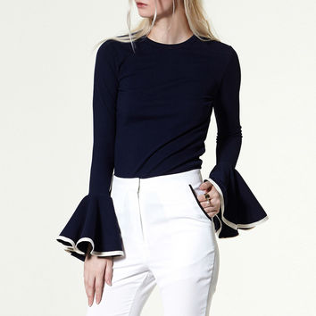 [TWOTWINSTYLE] 2016 Autumn Flare Long Sleeves Hit Color Fit Knitted T Shirt Women Tops New Fashion