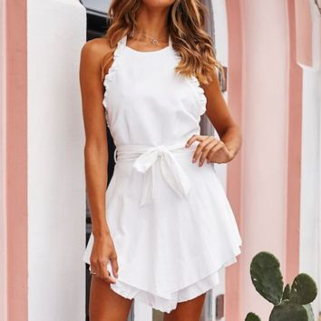 Women's new sexy halter halter strap with solid color dress White