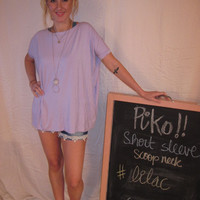 Lilac Short Sleeve Scoop Neck Piko Shirt On Sale | Overstock Boutiques