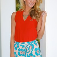 Summer Of New Beginnings Blouse-Red