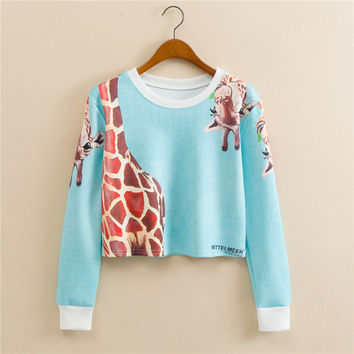 Stylish Round-neck Pullover Print Long Sleeve Hoodies [9101512327]