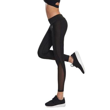 DCCKH6B New Arrival Women Sexy Mesh Stitching Leggings 2017 Fashion Black Elastic Waist Fitness Skinny Legging Casual Solid Leggins