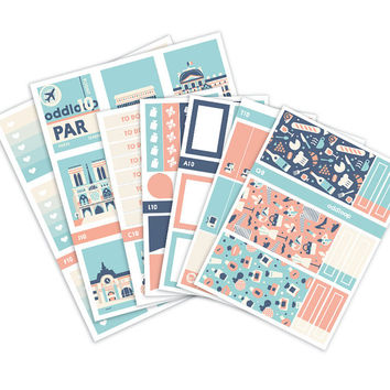 Travel the World: Paris Planner Stickers Weekly Kit (CREATE A SCENE!) - Vertical Erin Condren