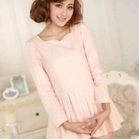 Kawaii Lolita Preppy Style Fluted Collar Perl Puff Sleeve Pleated Lace Dress - S M L from Tobi's Finds
