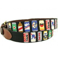 Beer Cans Needlepoint Belt by Smathers & Branson