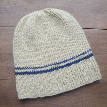 Luxury Knit Beanie Cap, Yellow with Blue Stripes, Cable Hat, Men & Teen Boys