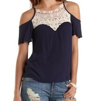 Navy Blue Cmb Crochet-Bib Cold Shoulder Swing Top by Charlotte Russe