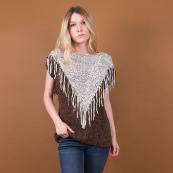 FRINGE leather knit shirt / geometric western fringe top / brown unique cap sleeve / Vintage 80's boho southwestern