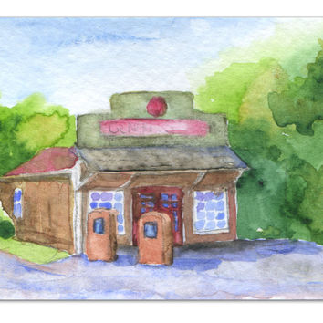 General Store Watercolor ACEO Giclee Fine Art Print