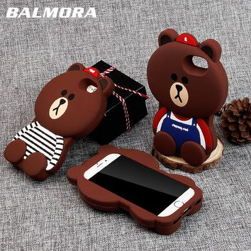 BALMORA Cute Bear Case For iPhone 6 6s 7 8 Plus Case 3D Animals Soft Silicon Anti-knock Shell Cover For iPhone 4 4s 5 5s 5C Se X