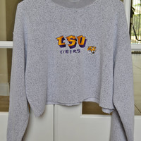 LSU Tigers Gray Cropped Sweatshirt Crewneck Oversized Vintage 90s L