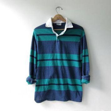 DCK7YE vintage 90s striped henley shirt. collared shirt. long sleeve Polo shirt.