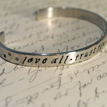 Love All Trust Few Do Harm to None Hand Stamped by BerkeyDesigns