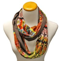 Luxury Divas Brown Colorful Abstract Print Circle Scarf