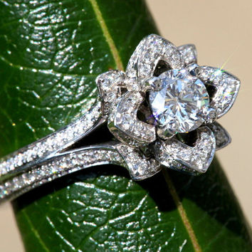 Two Rows - UNIQUE Flower Rose Diamond Engagement Ring - 2.00 carat - 14K white gold - wedding - brides -custom made - art deco - fL05