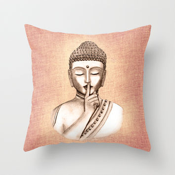 Buddha Shh.. Do not disturb - Colored version Throw Pillow by Vanya