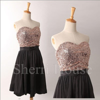 Sequins Lace Sweetheart Strapless Short Bridesmaid Celebrity dress ,Chiffon Evening Party Prom Dress Homecoming Dress