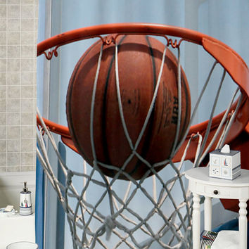 Basketball  special shower curtains that will make your bathroom adorable.