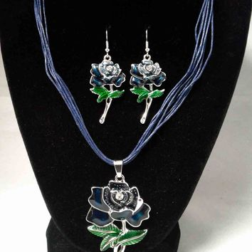 Dark Blue Enamel Rose Necklace and Earring Set