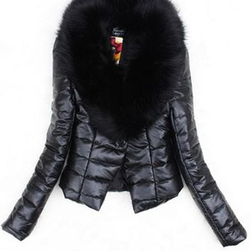 New Black Patchwork Buttons Leather Fur Collar Fashion Outerwear