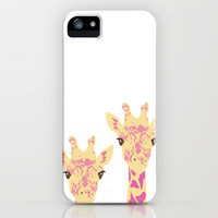 pinky giraffe sisters iPhone Case by Ela Caglar | Society6