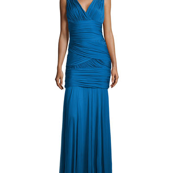 One-Shoulder Ruched Gown, Sapphire, Size: