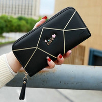 New Designer Candy Color Geometric Lines Cute Love Long Design Leather Wallets for Women Zippy Clutch Handbags = 1958624068