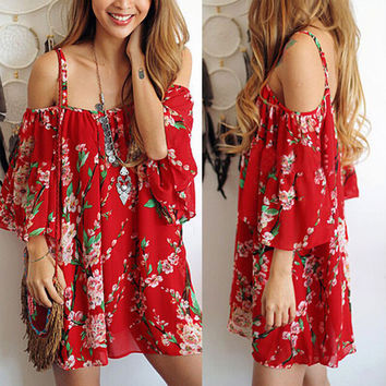 Fashion Retro Flower Print Off Shoulder Loose Chiffon Strap Mini Dress