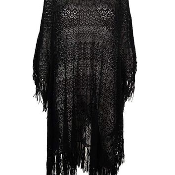 Ralph Lauren Women's Crochet Poncho Sweater