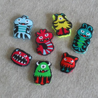 Little Monster Stick Finger Puppet Crochet or Pencil Toppers  (choose 3)
