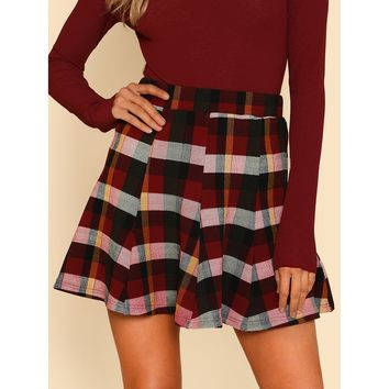 Plaid Print Paneled Skirt