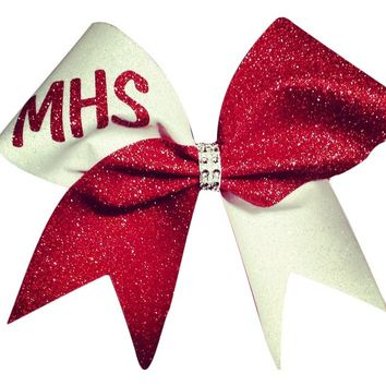 Red and white glitter cheer bow. can be made in any color combinations , with your team name or team mascot. just