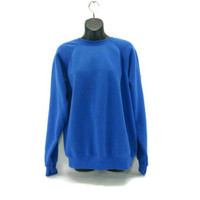 Vintage Blue Raglan Crewneck Sweatshirt, Medium, Tultex, Vintage Clothing, 80's 90's Fashion, Electric Blue, Fall Fashion, Worn, Soft, Warm