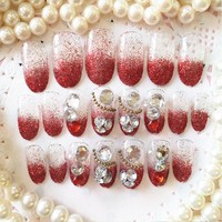 New Bride Artificial 3D False Nails, White diamond Wedding French Diamond Finger Red sexy Fake Nail Tips 24pcs/set F011
