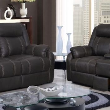 2 pc Rummy collection charcoal leather air upholstery sofa and love seat with recliner ends