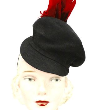 2b5c228382c2f The Best Vintage Clothing  98.00. Vintage Womens Doll Hat 1930s Black Felt  Fascinator Red Feather Accent WW2