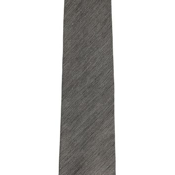 Tom Ford Mens Grey Linen Silk Blend Brushed Patterned Classic Tie
