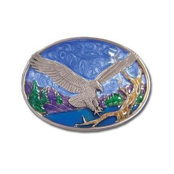 Sports Accessories - Small Eagle Landing Enameled Belt Buckle