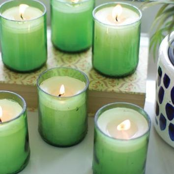 Set Of 6 Recycled Green Glass Beer Bottle Candles