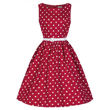 Women Sexy Vintage Style Retro Vintage 1940s Shirtwaist Flared Evening Tea Dot 4 Colors Mini Dress Swing Skaters S-XL