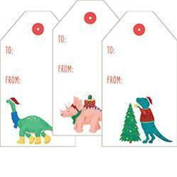 Santasaurus Dinos Sticker Tags