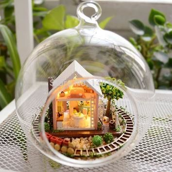 B008 DIY Glass Ball miniature garden vacation dollhouse Glass ball Wooden Doll House
